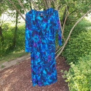 Chaps faux wrap dress  blues